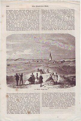 Holzstich   Das Seebad Wangeroog  ca. 1857 Wangerooge  Illustrierte Zeitung