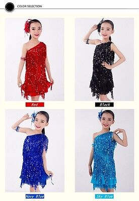 Kids Girls Latin Salsa Tango Party Dance Costume Dress Sets Outfits 4-15 Years