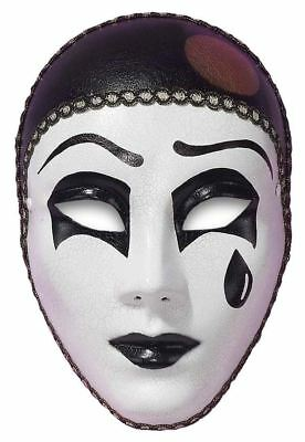 Black & White Pierrot Carnival Masquerade Mask Tear Drop Cracked Style Face Mask - Pierrot Masks