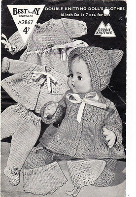 Lovely Vintage 16 inch dolls layette knitting pattern- gorgeous vintage pattern