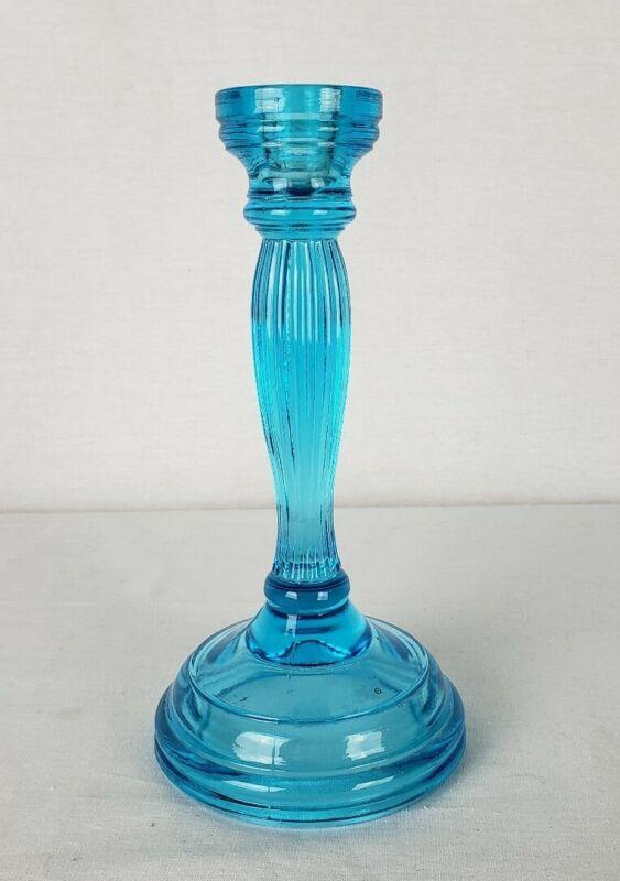 Antique Celeste Blue Glass Candlestick Art Deco