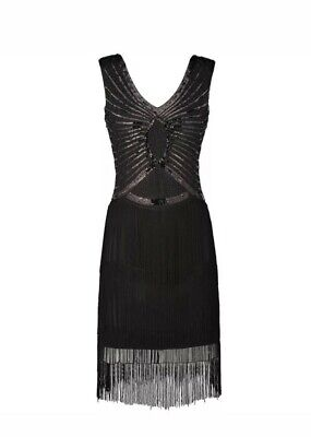 Damen 1920er Jahre Charleston Kleid Flapper Fransen Gatsby Party Hutball 38/M/10