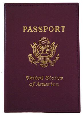 Purple Leather US Passport Cover ID Holder Handmade Wallet Travel Case