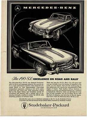 1958 MERCEDES-BENZ 190SL 190-SL graphic illustration Vintage Print Ad