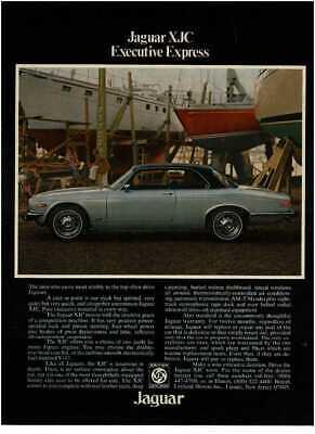 1976 JAGUAR XJC silver gray coupe black top Vintage Print Ad boatyard