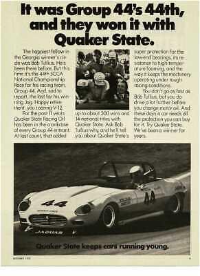 1976 QUAKER STATE Motor Oil Bob Tullius SCCA Jaguar Vintage Print Ad