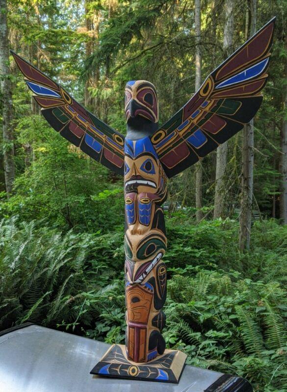 "Massive 28"" Pacific Northwest Carved Cedar Totem Pole Harvey Josie Williams"