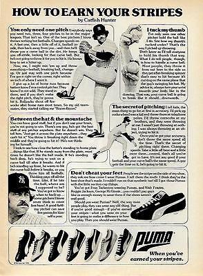 1976 HALL OF FAME PITCHER CATFISH HUNTER PUMA SHOE AD