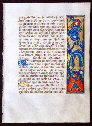 ILLUMINATED MANUSCRIPT BOOK OF HOURS LEAF, ANNUNCIATION, GOLD, UNUSUAL BORDERS