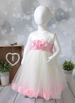 SALE % - Blumenmädchenkleid Taufkleid Festkleid Babykleid Kleid creme/rosa