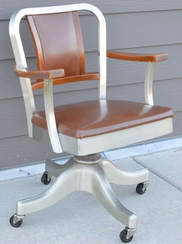 Vintage Mid Century Modern Shaw Walker Aluminum Leather MCM Desk Office Chair
