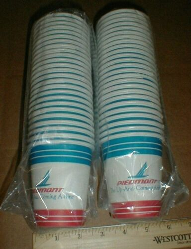 50 Vtg small Piedmont Airlines Up & Coming unused Airplane paper cups New