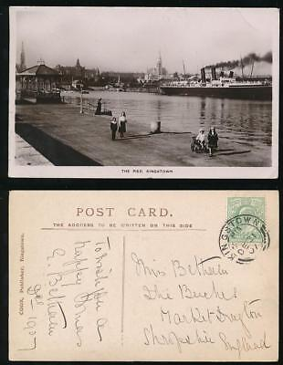 IRELAND 1907 KINGSTOWN CLEAR REAL PHOTO PPC SHIP PIER + CHILDREN