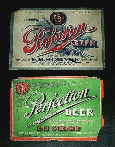 2-PRE PRO PERFECTION BEER LABELS, MILWAUKEE BREWERY OF SAN FRANCISCO, CAL.