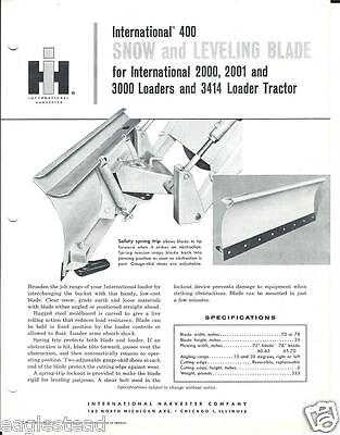 Equipment Brochure - Ih - 400 - Snow Levelling Blade For Tractor E2269