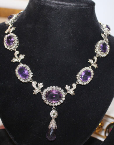 12.50ct Rose Cut Diamond Antique Look 925 Silver Amethyst Gemstone Necklace