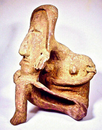 PRE-COLUMBIAN SEATED FEMALE JALISCO  W/COA