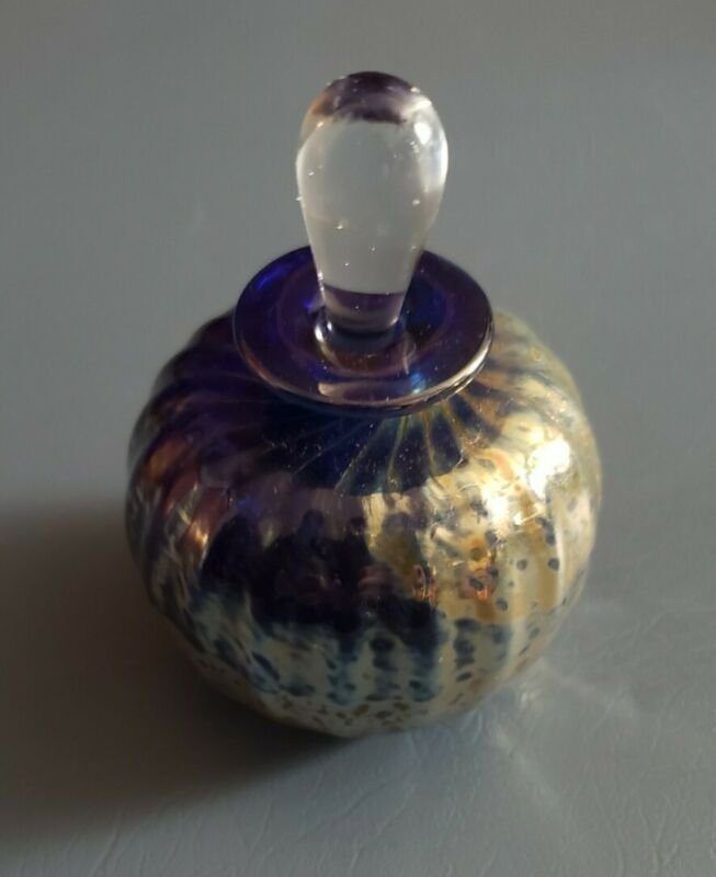 Art Glass Perfume Bottle Signed Gold Blue Beautiful Colors Hand Blown
