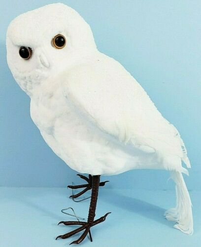 """White Owl Ornament 8 1/2"""" x 4 1/2"""" x 6"""" Frosted & Feathered"""