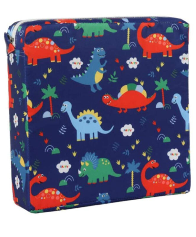 child booster Chair Pad Adjustable Straps Dinosaurs Blue Red Yellow