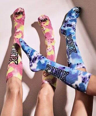 Yellow High Socks (NWT Victoria's Secret PINK Yellow & Pink Blue & Purple Tie Dye Knee High Socks)