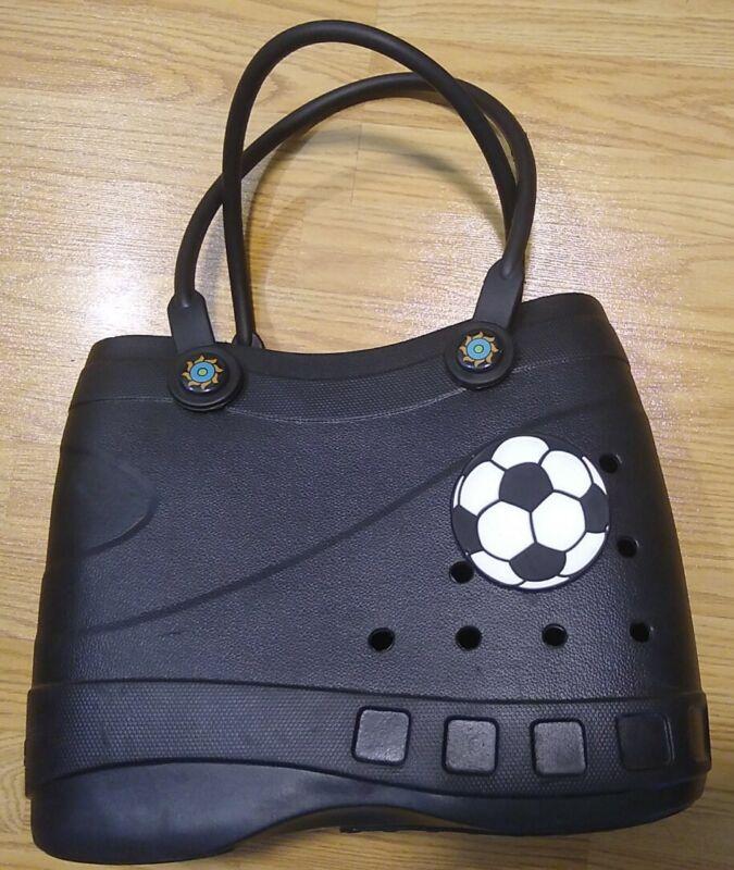 Optari Large Sol Tote + Soccer Charm (Black w/orange/teal handle pegs)