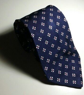 BURBERRY LONDON Blue with Pink Geometric Floral Woven Silk Tie Made in Italy