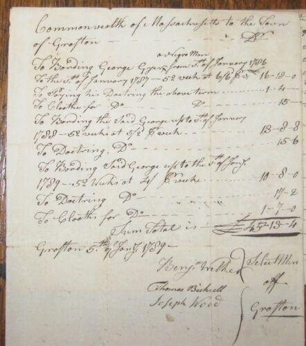 "1786 GRAFTON MASSACHUSETTS ""GEORGE A NEGRO"" Handwritten Manuscript Lot ~ Slave?"