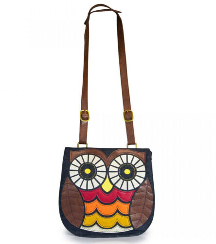% New LOUNGEFLY Handbag Crossbody Bag Purse OWL BIRD BROWN BLUE Faux Leather