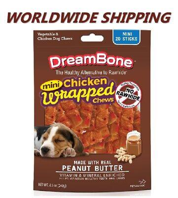 DreamBone Mini Chicken Unwrapped Chews Dog Treats w/ Peanut Butter WORLD SHIP