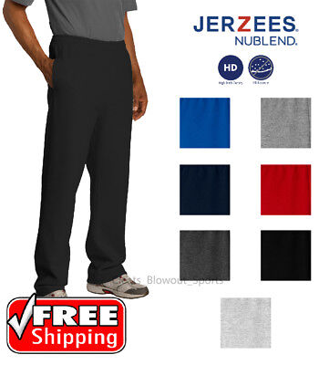 - JERZEES NuBlend Open Bottom Sweatpant Pockets Gym Trainer Cross Fit Runner 974MP