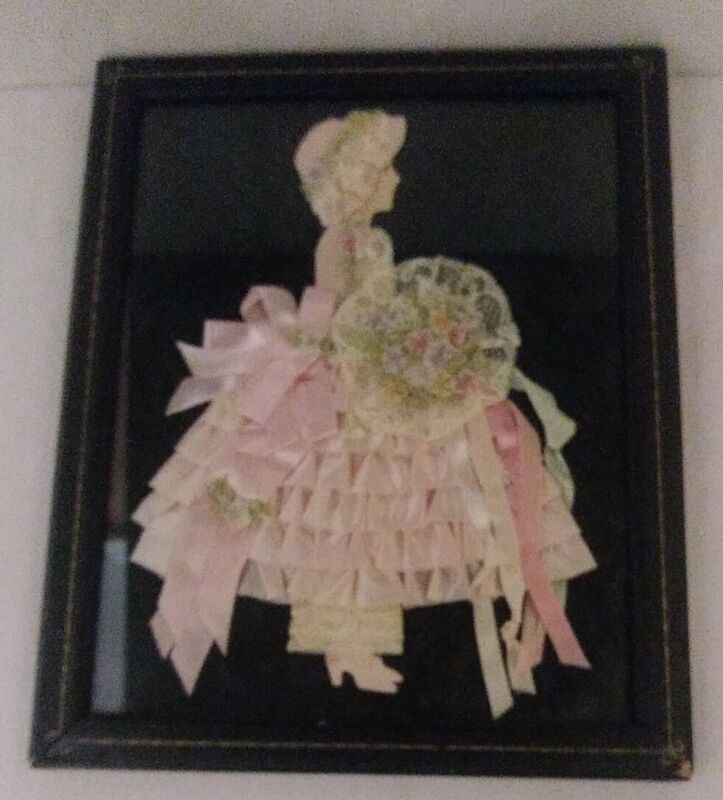 Antique Paper Silhouette with Ribbon, Lace & Embroidery in Leather Look Frame