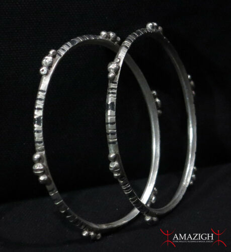 Old Pair Tuareg Bracelets - Silver, Enamel - Mauritania