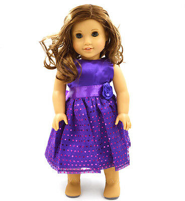 Handmade new purple clothes dress for 18inch American girl doll party b89 on Rummage