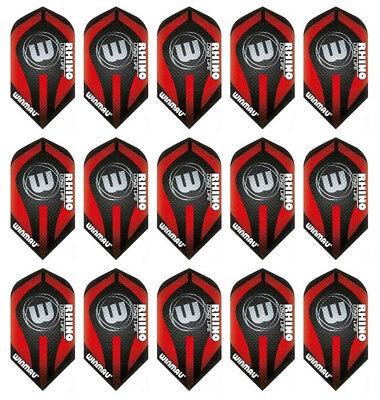 5 New Sets Winmau Rhino Slim 100 Micron Dart Flights – Red Logo