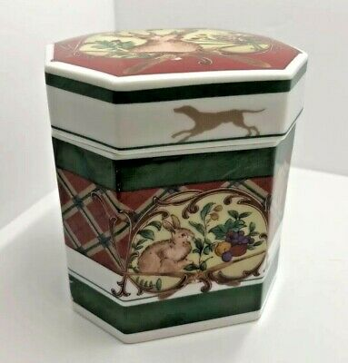 "Noritake Royal Hunt Jewelry Trinket  Box 3930 Plaid Deer Rabbit Pheasant 31/2x4"""