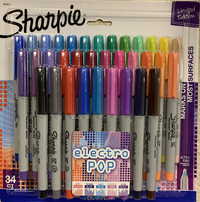 Sharpie Limited Edition Electro Pop Ultra Fine Permanent Markers 34 Count