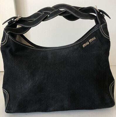 Miu Miu Black Shoulder Bag with Braided Handle
