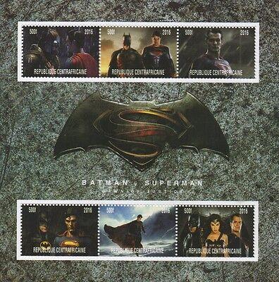 BATMAN VS SUPERMAN DAWN OF JUSTICE AFFLECK CAVILL 2016 MNH STAMP SHEETLET