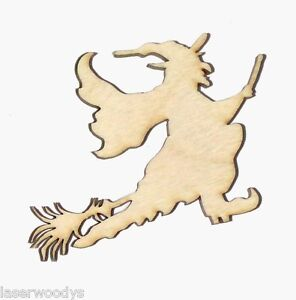Flying-Witch-Unfinished-Flat-Wood-Shapes-Cut-Outs-FW90006-Variety-Sizes-Crafts