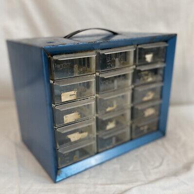 Vintage Metal Storage Cabinet AKRO-MILLS  15 Plastic Drawers