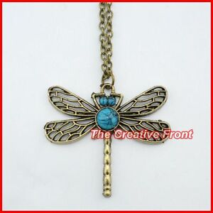 DRAGONFLY-CUTE-VINTAGE-FLY-NECKLACE-Beautiful-Womens-Jewellery-New