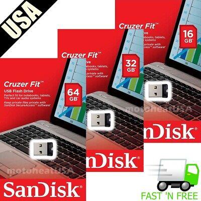 - SanDisk Cruzer Fit Flash Drive 8GB 16GB 32GB 64GB USB 2.0 Memory Stick Mini USB