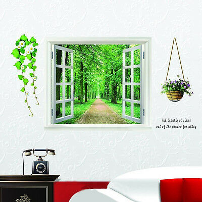 Window 3D Green View Flowers Plant Wall Stickers Art Mural Decal  LW