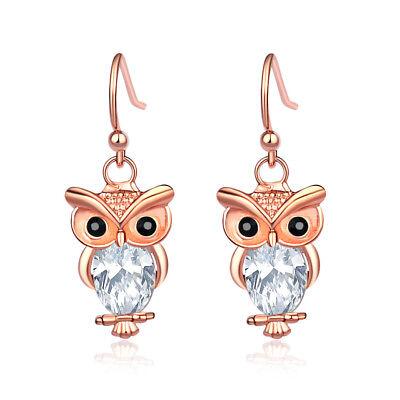 Women Rose Gold Plated Owl Animal Clear Crystal Oval  Dangle Hook Stud Earrings