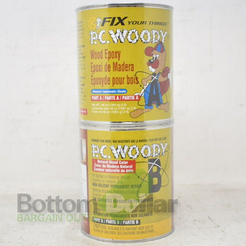 PC Woody Waterproof 2-Part Wood Filler Epoxy Paste 48 Oz Tan