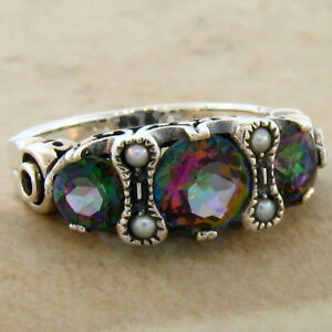 MYSTIC-QUARTZ-SEED-PEARL-ANTIQUE-VICTORIAN-DESIGN-925-SILVER-RING-SIZE-6-544