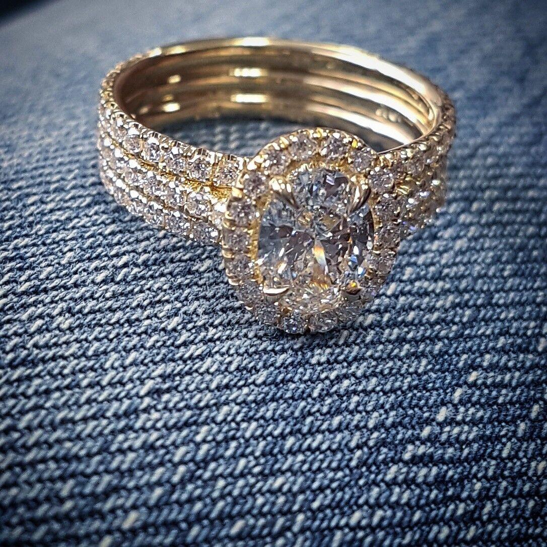New 1.80 Ct Oval Cut Diamond 3-Row Engagement Ring F,VS1 GIA 14K RG or WG or YG