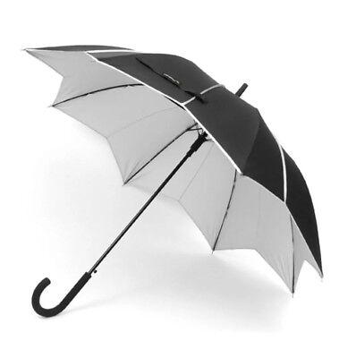 Uv Block Umbrella Automatic Open Stylish J-Hook Size Medium Black/Silver