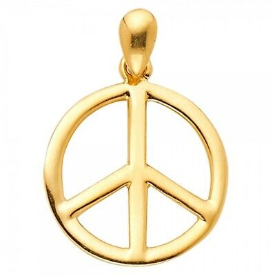 New 14k Yellow Gold Peace Sign Pendant Charm Medalla Oro Paz Yellow Gold Peace Sign